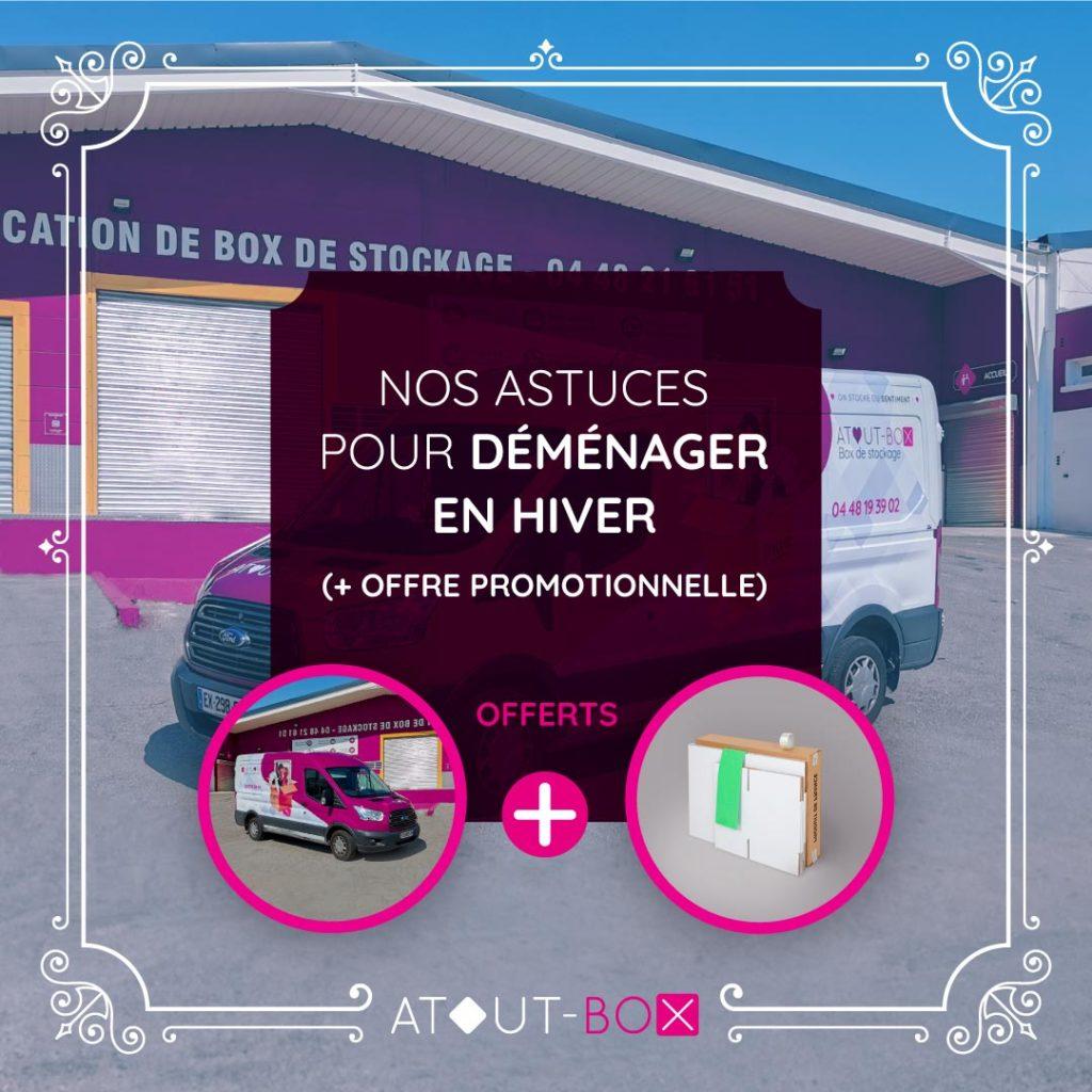 Titre de l'article et offre promotionnelle avec camion et pack de déménagement offerts : offre déménager en hiver